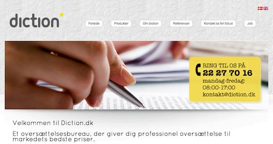 Projekter: Diction.dk - Flersproget hjemmeside