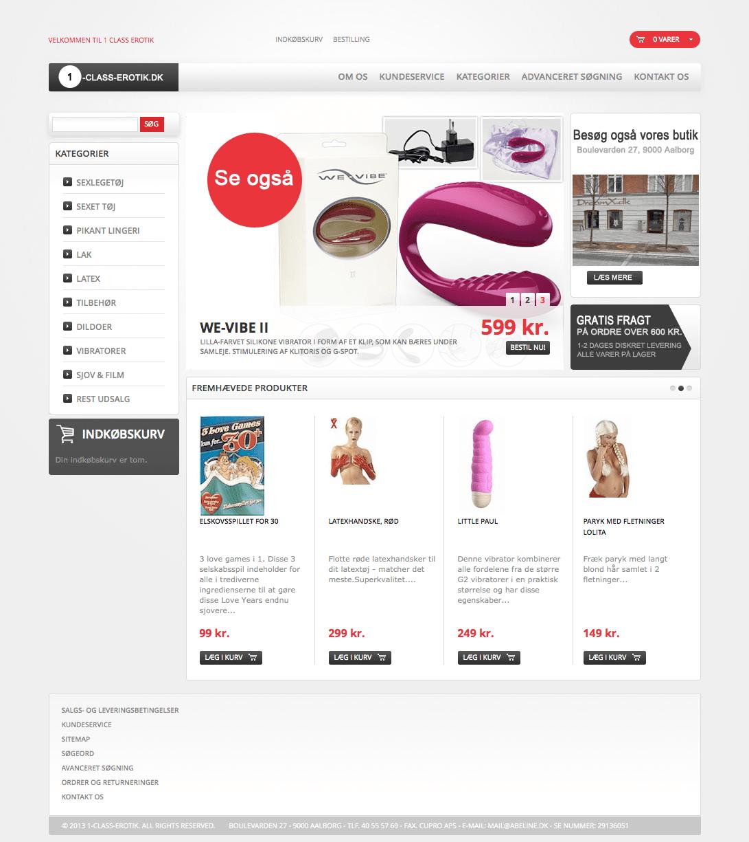 Projekter: 1-class-erotik.dk - Magento Webshop